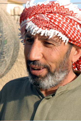 Palestinian man wearing Keffiyeh